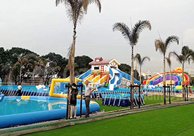 Mobile inflatable water park slide in Malaysia